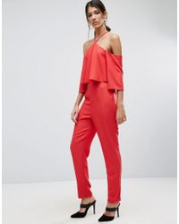 ASOS - Red Jumpsuit With Ruffle Bardot And Halter Neck Detail - Lyst