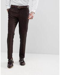 ASOS DESIGN - Red Asos Skinny Suit Trousers In Wine Flecked Wool Blend for Men - Lyst