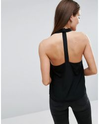 ASOS - Black Wrap Halter Top With Back Detail - Lyst