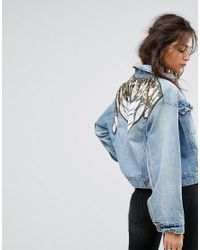 Free People | Blue Glam Embellished Denim Jacket | Lyst