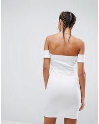 ASOS DESIGN - White Bardot Body-conscious Dress - Lyst