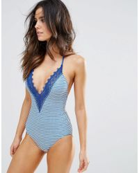 Seafolly - Blue Riviera Lace Deep V Maillot Swimsuit - Lyst