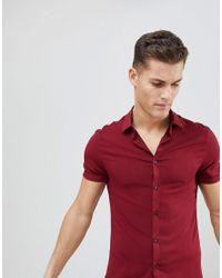 ASOS - Red Skinny Viscose Shirt In Burgundy for Men - Lyst