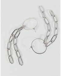 ASOS - Metallic Design Statement Earrings With Open Link Chain Strands In Silver - Lyst