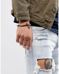 Icon Brand - Gray Grey Beaded Cross Bracelet for Men - Lyst