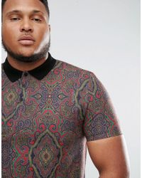 ASOS - Multicolor Asos Plus Polo With All Over Paisley Print In Pique for Men - Lyst