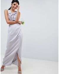 ASOS - Pink Design Bridesmaid Pearl Trim Twist Front Maxi Dress - Lyst