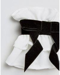 ASOS - White Asos Velvet Bow Cuffs - Lyst