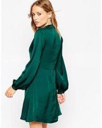 Needle & Thread | Satin Skater Dress With Bell Sleeve - Black | Lyst