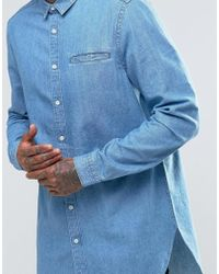 ASOS | Blue Super Longline Denim Shirt With Mini Collar In Mid Wash for Men | Lyst