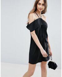 ASOS - Black Clean Cold Shoulder Dress - Lyst