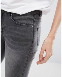 Vila - Gray Grey Skinny Jeans - Lyst