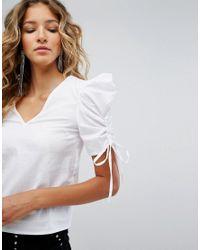 Miss Selfridge - White Exclusive Shoulder Detail Poplin Top - Lyst