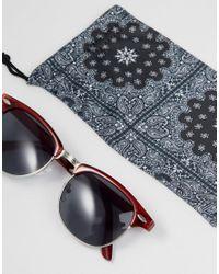 ASOS | Red Retro Sunglasses In Crystal Burgundy for Men | Lyst