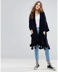 French Connection - Blue Annabel Tassel Wool Mix Knit Cardi - Lyst