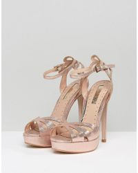 Miss Kg - Metallic Fabienne Jewelled Butterfly Platform Heeled Sandals - Lyst