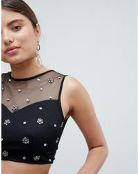 Missguided - Black Mesh Diamante Cropped Top - Lyst