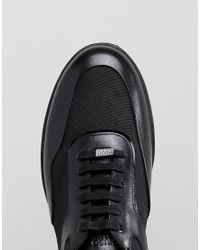 HUGO - Flat Lowp Mix Media Sneakers In Black for Men - Lyst