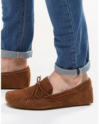ASOS | Brown Driving Shoes In Tan Suede With Tie Front for Men | Lyst