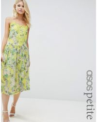 ASOS | Yellow Premium Pretty Floral Cami Dress With Lace Insert | Lyst