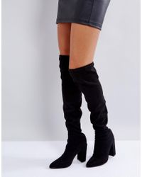 41778e44e259 Lyst - Missguided Pointed Over The Knee Boot in Black