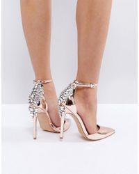 1642c99fc684 Lyst - ASOS Palais Embellished High Heels in Metallic