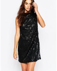 Motel | Black Radella Shift Dress With Tear Sequin Embellishment | Lyst