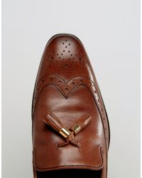 c15dc0567b4 ASOS Brogue Loafers In Tan Leather With Tassel in Brown for Men - Lyst
