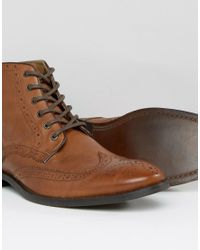 ASOS - Brown Wide Fit Brogue Boots In Tan Leather for Men - Lyst