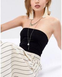 ASOS - Metallic Design Spike And Stone Multirow Necklace - Lyst