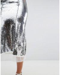 ASOS - Metallic Sequin Maxi Skirt - Lyst