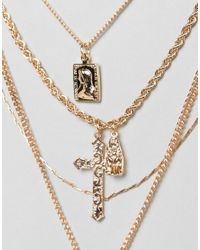 ASOS - Metallic Design Multirow Necklace With Vintage Style Icon And Cross Pendants In Gold - Lyst