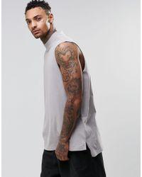6999ebd42bdbd8 Men s Gray Oversized Sleeveless T-shirt With Turtleneck And Longline Stem  Hem