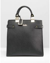 Faith - Black Metal Hinge Structured Tote Bag - Lyst