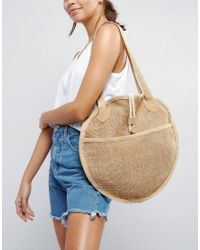 ASOS   Brown Beach Jute Circular Shopper Bag   Lyst
