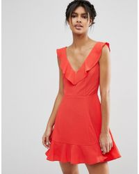 ASOS   Red Skater Dress With Frill Detail   Lyst