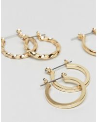 ASOS - Metallic Design Pack Of 3 20mm Hoop Earrings In Gold - Lyst