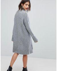 Whistles - Gray Funnel Neck Knit Dress - Lyst