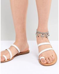ASOS - Metallic Design Engraved Cut Out Ball Charm Anklet - Lyst