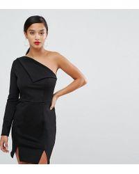 9d2ce982edd7e ASOS Double Split One Shoulder Mini Dress in Black - Lyst