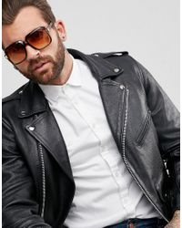 ASOS | Navigator Sunglasses In Crystal Brown With Yellow Fade Lens for Men | Lyst