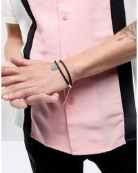 ASOS - Black Design Bracelet With Sterling Silver St Christopher Pendant for Men - Lyst