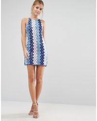 True Decadence - Blue Embellished Coin Shift Dress - Lyst