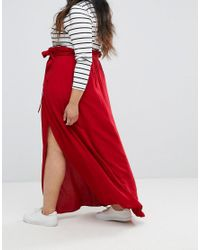 ASOS - Red Maxi Skirt With Belt And Thigh Split - Lyst