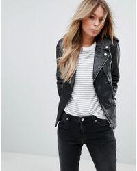 Mango   Black Leather Biker Jacket   Lyst
