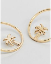 ASOS - Metallic Palm Tree Hoop Stud Earrings - Lyst