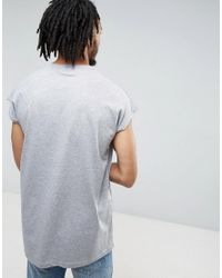 ASOS - Gray Oversized Sleeveless T-shirt In Grey for Men - Lyst