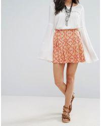 Free People - Orange Lovers Lane Printed Mini Skirt - Lyst