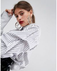 ASOS | Metallic Oversized Triple Linked Hoop Earrings | Lyst