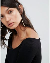 ASOS - Metallic Statement Teardrop Hoop Earrings - Lyst